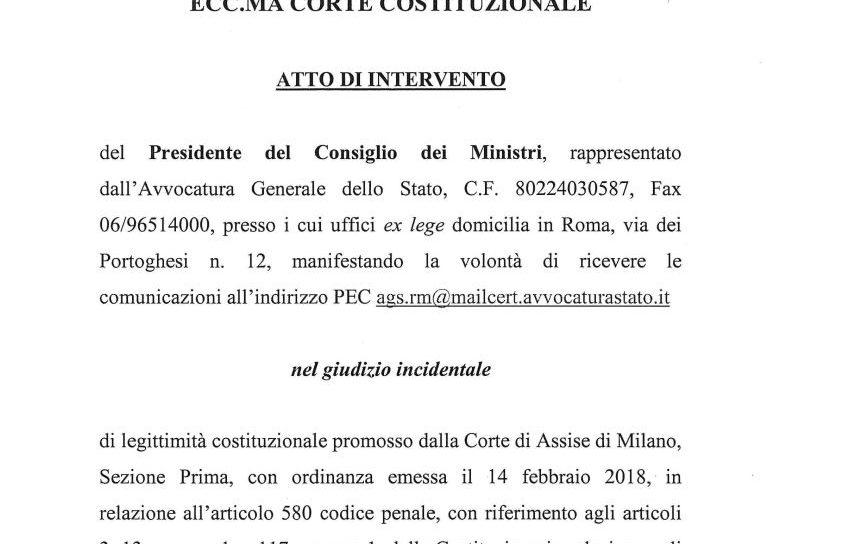 Cappato: ecco l'atto di intervento del Governo che difende la Costituzionalità del reato di aiuto al suicidio